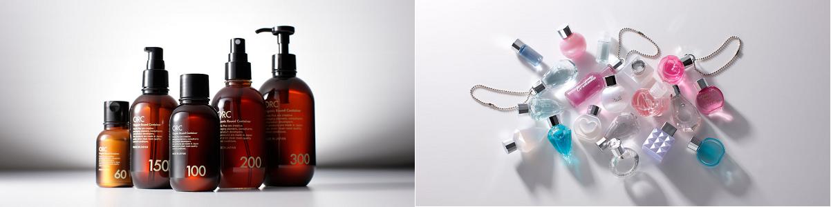 化粧品ボトルとミニ容器